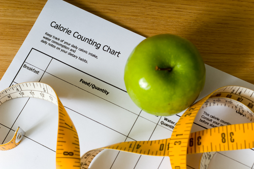 Calorie-counting-chart-green-apple-and-tape-measure-items-for-a-diet-1